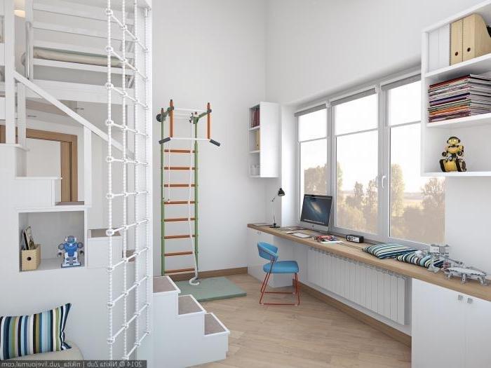 Детская для мальчика, письменный стол у окна, расширение подоконника зона...