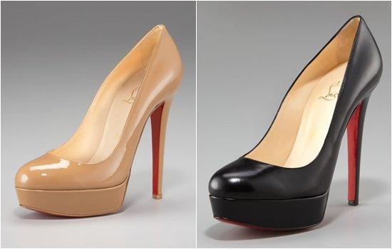 Классика от Christian Louboutin, бежевые и черные туфли на платформе