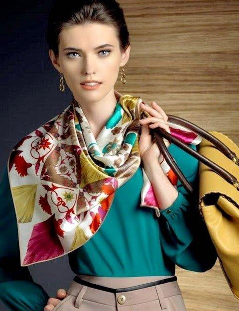 Модный платок на шею 2014 - 55 фото, видео | Дамские секреты