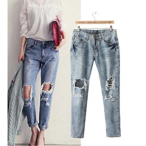 Рваные голубые джинсы Дольче Габбана в интернет магазине Lookchic.ru