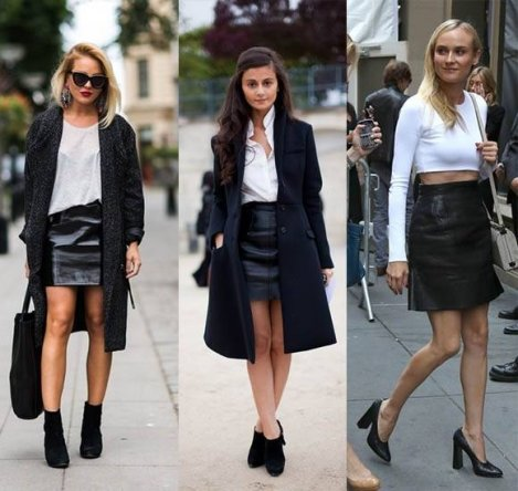 С чем носить кожаную юбку? 50 фото