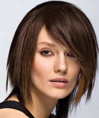 Стрижки с косой челкой, фото причесок с косыми челками и ассиметричных стрижек с челками