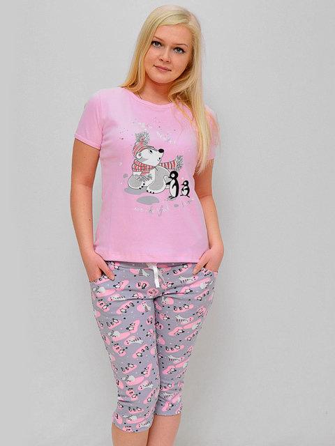 TK90K-3 пижама женская, розовая / Товары оптом - ТопОпт.ру
