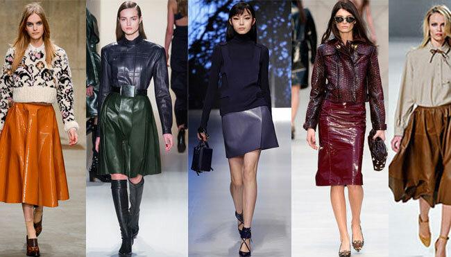 Цветные кожаные юбки 2015-2016