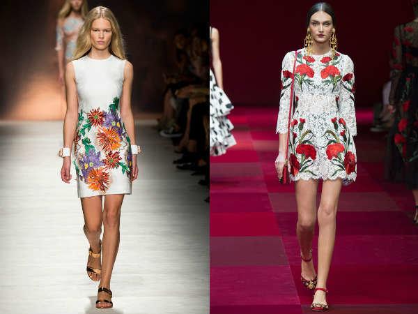 Цветочный принт модных платьев весна-лето 2015