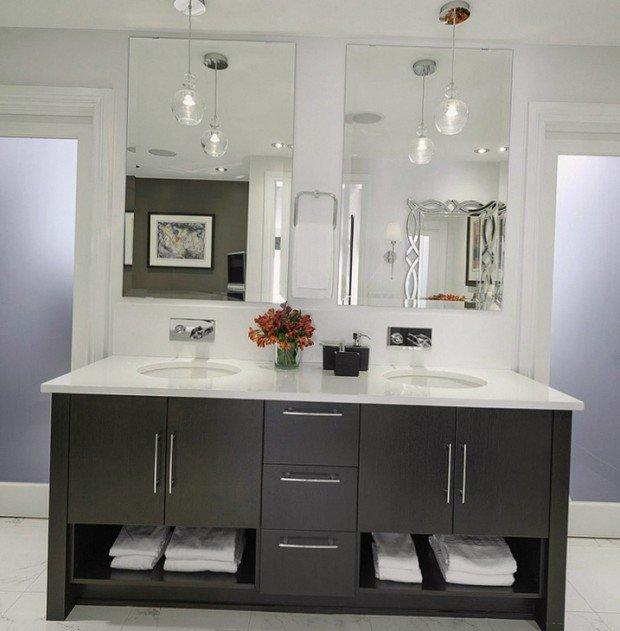Ванная комната в черно-белом исполнении