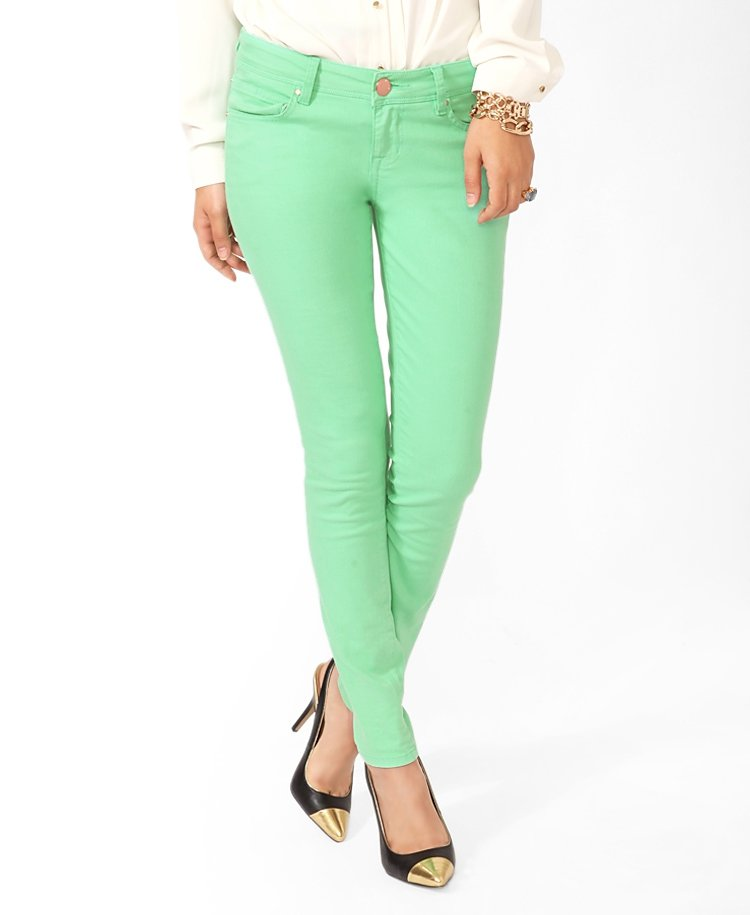 Женский Зеленые джинсы F284 - цена 1206 руб, купить с доставкой по Москве интернет - магазин Оzборо