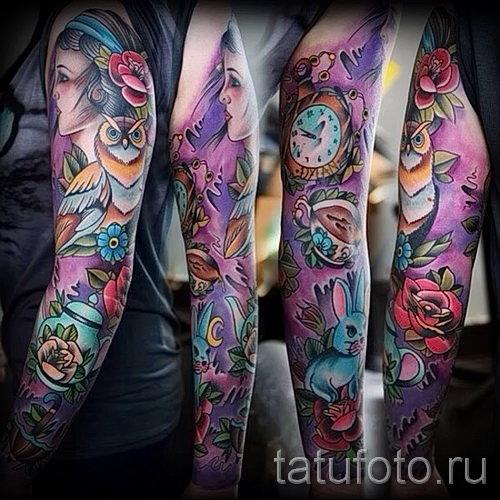 Цветы татуировка рукав