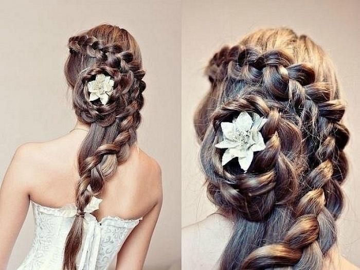 Французская коса на длинные волосы с узлом