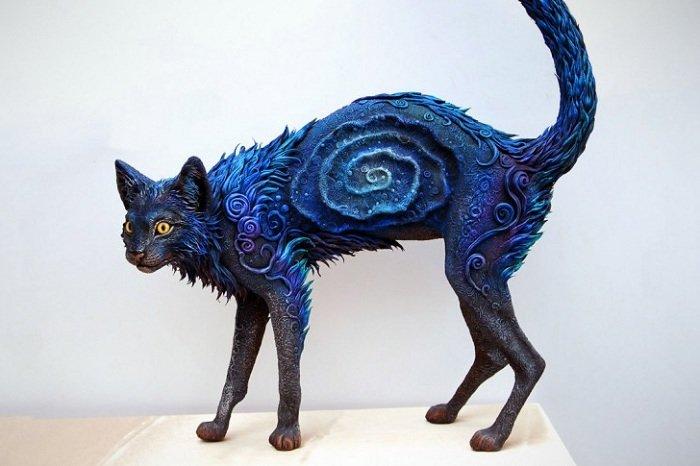 Galaxy Cat – фигурка из полимерной глины.