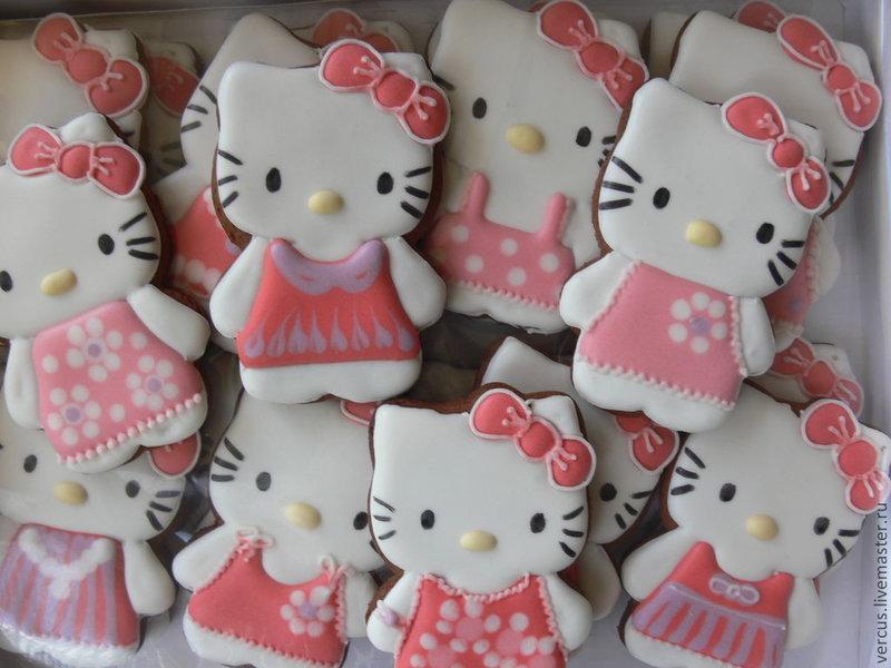 Купить Имбирное печенье Kitty - печенье, имбирное печенье, имбирный пряник, пряник, расписные пряники