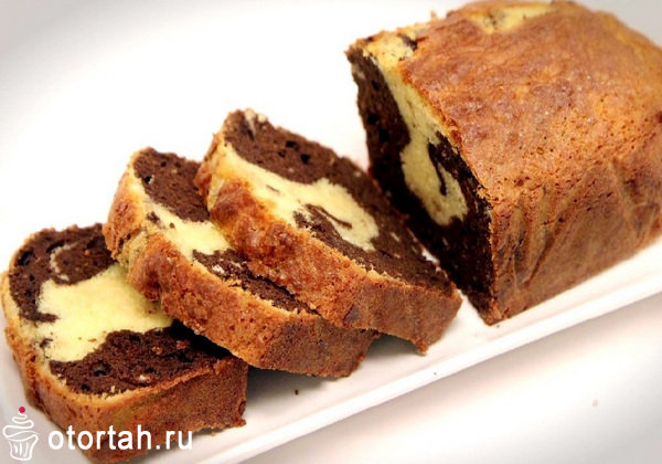 Мраморный кекс - рецепт с фото