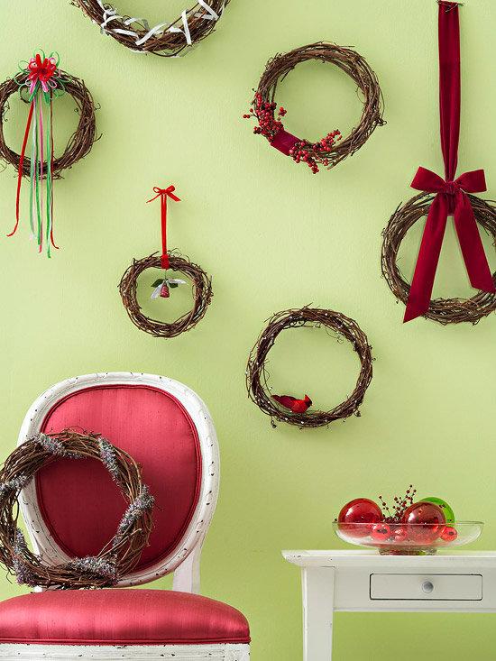 новогоднее декорирование стен