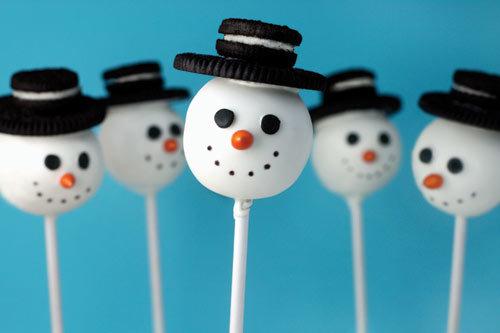 Пирожные в виде снеговиков