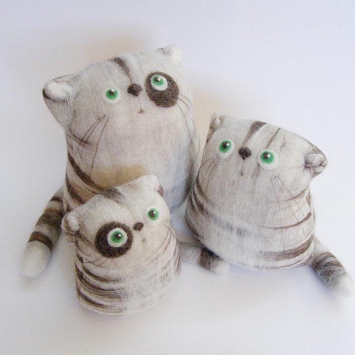 Валяние из шерсти - игрушки коты от fingtoys