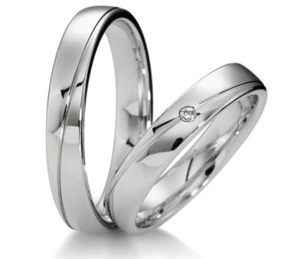 00160 - Обручальные кольца из белого золота с бриллиантом цена - 32000 рублей