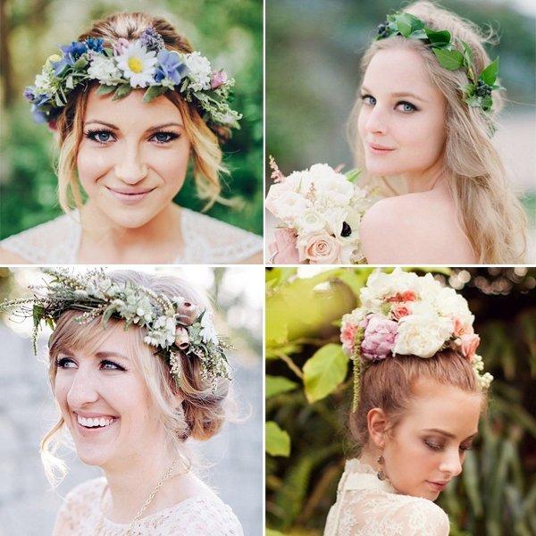 20 способов украсить свадебную прическу цветами / фото 2016