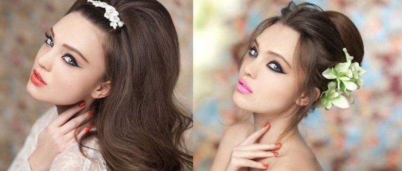Фото свадебный макияж для серо-голубых глаз в сиреневых тонах