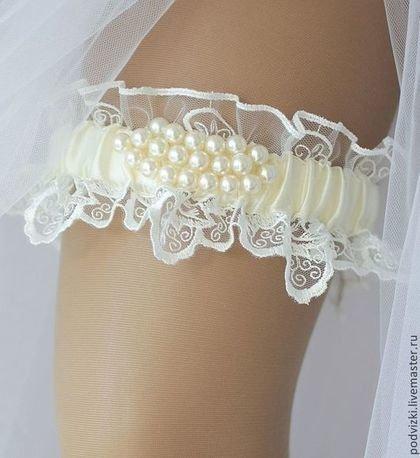 """Купить подвязка для невесты свадебная """"Жемчужина"""" - подвязка, подвязка для чулок, подвязка на ногу, подвязка кружевная"""