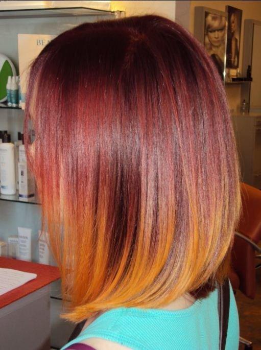мило, прически, омбре, оранжевый, приятное, красный