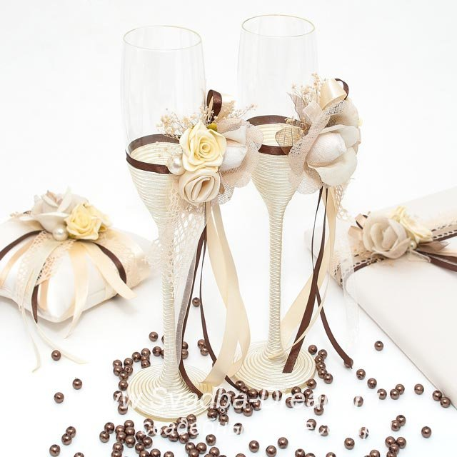 Оригинальные свадебные бокалы ручной работы - свадебные аксессуары от Svadba-Dream.ru