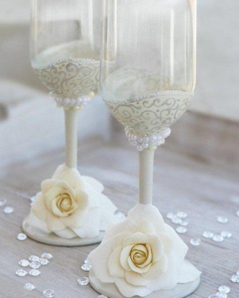 свадебные фужеры украшенные бисером