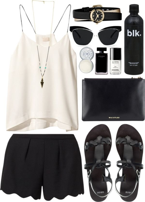 7c75bb274c3 Classy Black And White Summer Polyvore Combinations