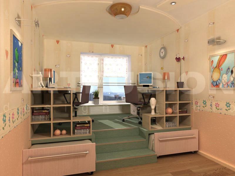 Детская комната для двоих детей рабочая зона,выдвижные крова.