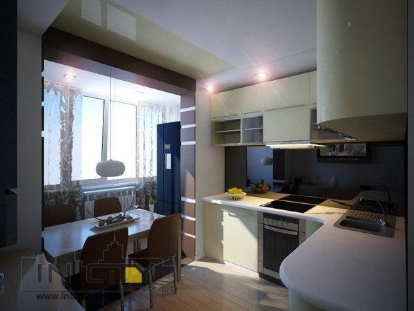 """Кухня совмещенная с балконом в современном стиле"""" - карточка."""