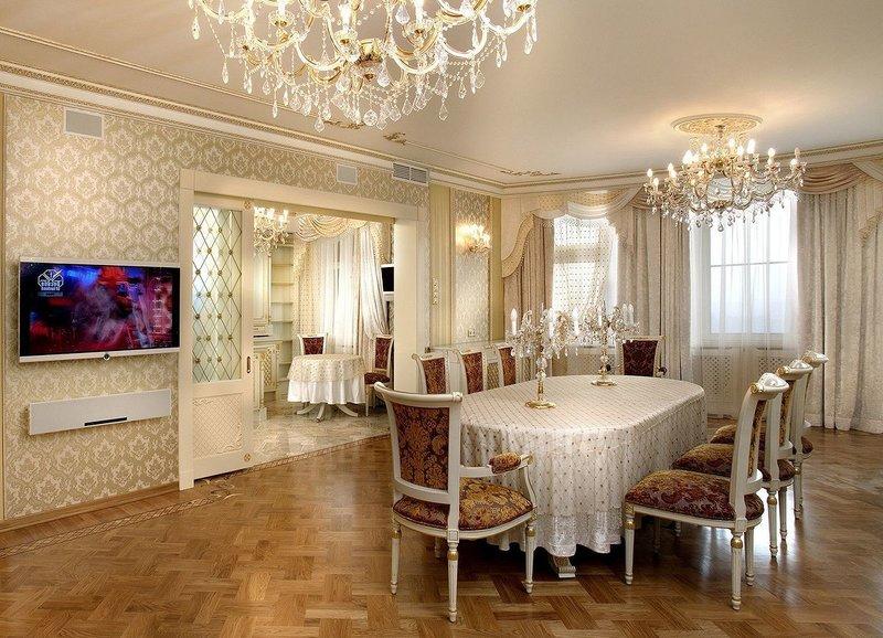 Дизайн зала и гостиной в стиле ампир.