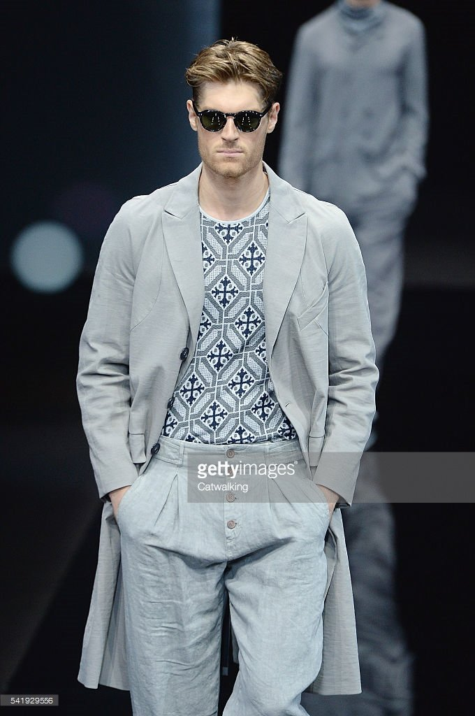 64de518ac1b A model Giorgio Armani - Mens Spring 2017 Runway - Milan Menswear Fashion  ... A model