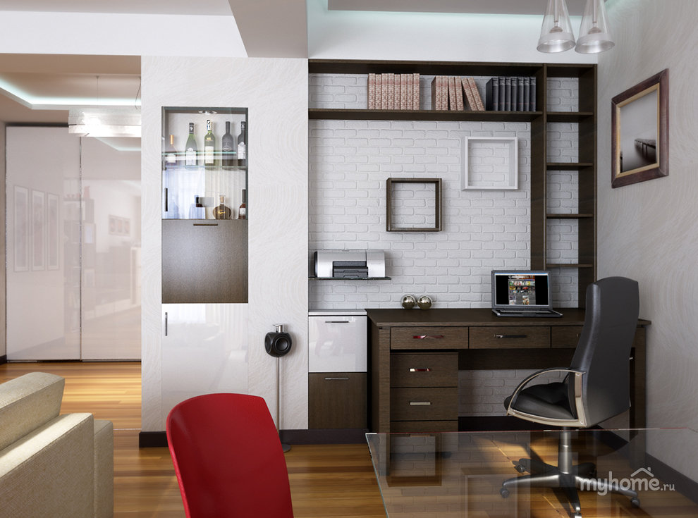 Как разместить компьютерный стол в гостиной фото