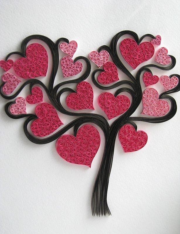 Днем рождения, открытки дерево с сердечками своими руками