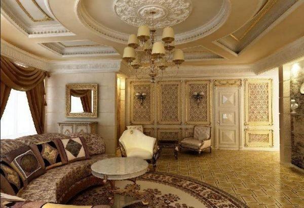Потолки с гипсовой лепниной традиционны для стиля ампир.