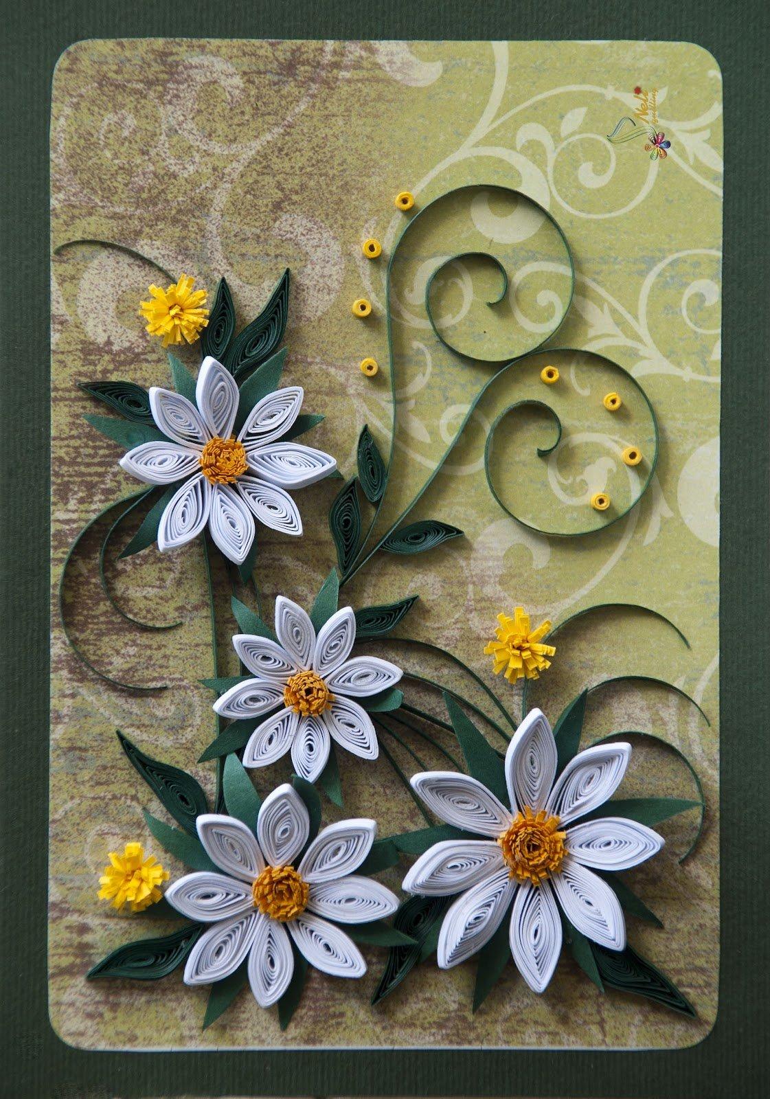 Фото, цветы для открытки квиллинг
