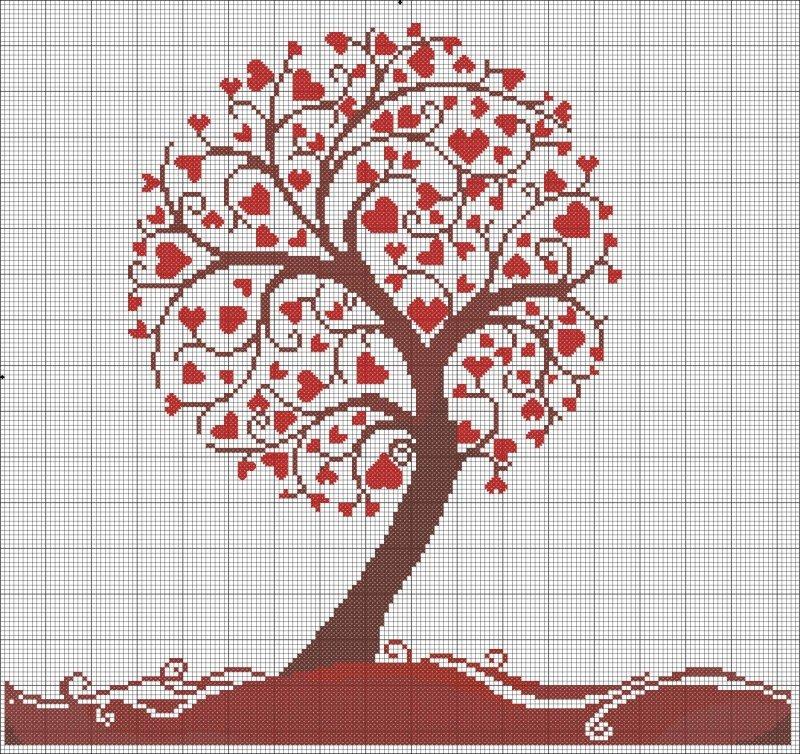 Схема вышивка сердечное дерево