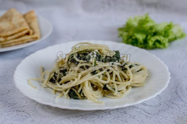шпинат со спагетти со сливками рецепты-хв9