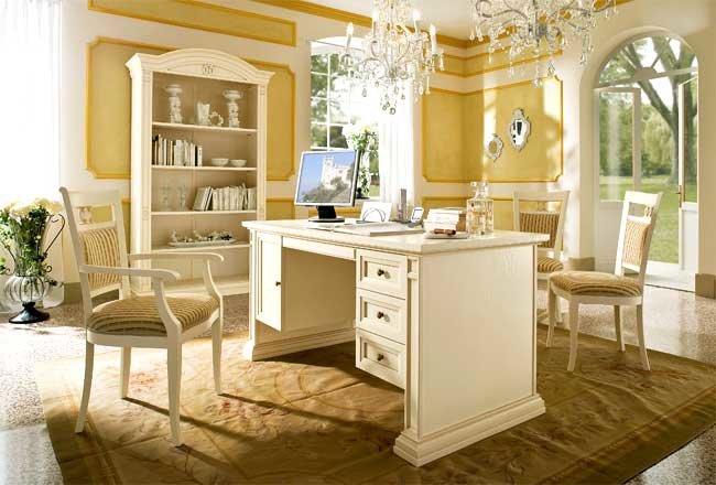 белая мебель для кабинета в классическом стиле ...