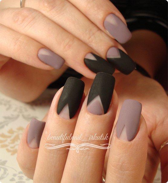 Чёрно-серый маникюр