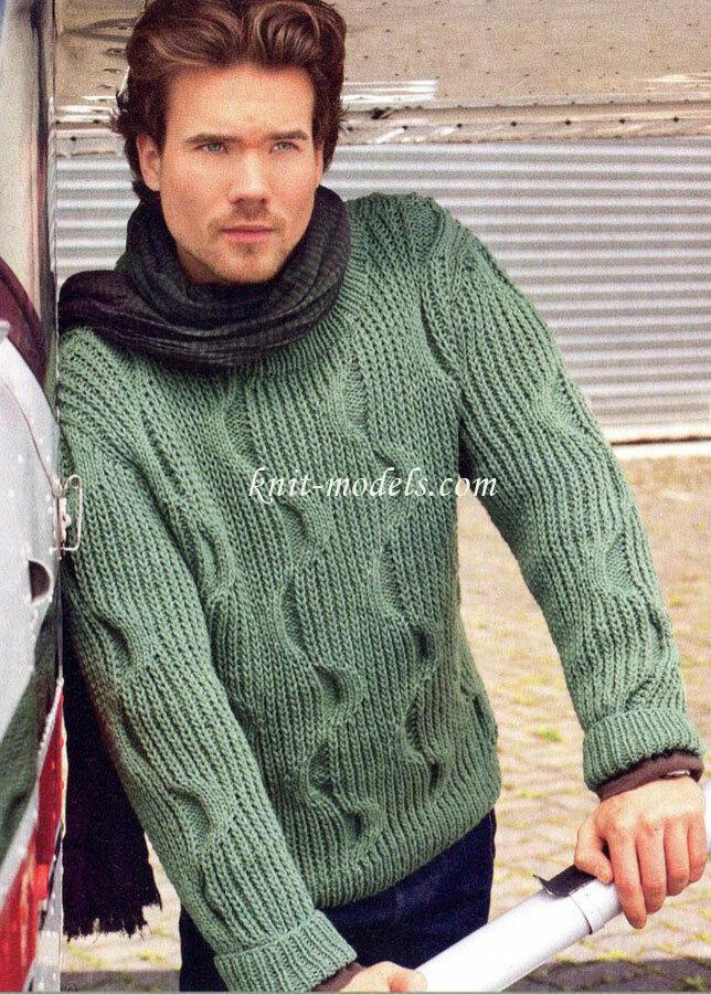стильный мужской свитер спицами Возник