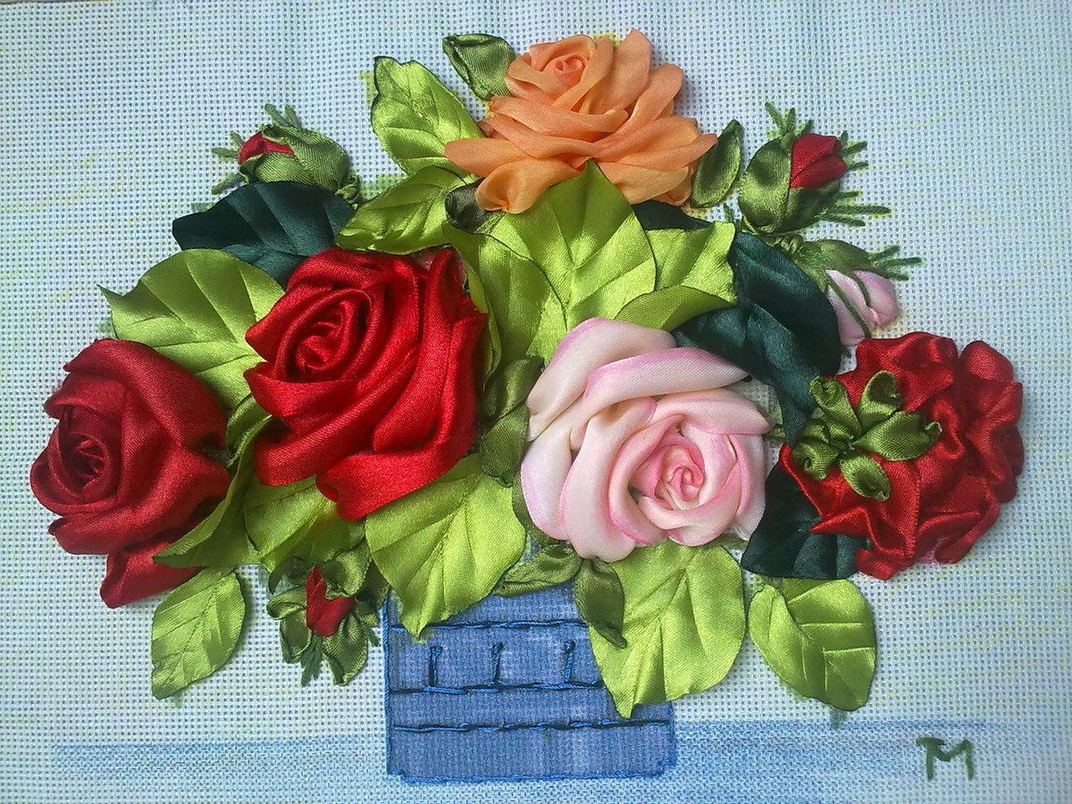 Открытка своими руками с розами из лент
