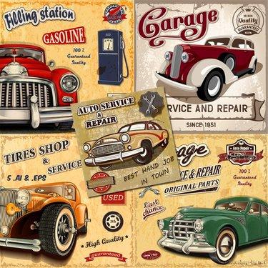 постер ретро автомобили