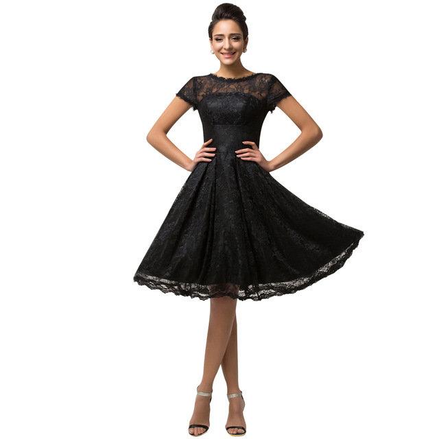 041d1a2b60a ... Купить товар Короткие черные вечерние платья 2015 Элегантных женщин С  Коротким Рукавом кружева вечернее платье V