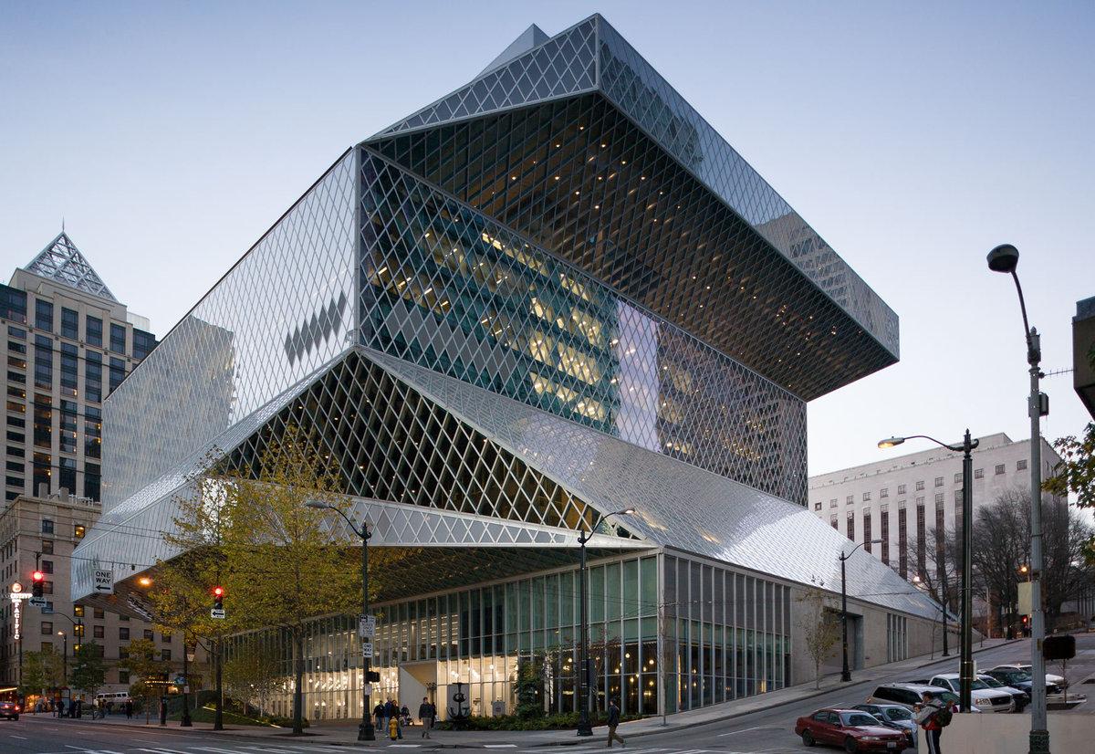Центральная библиотека Сиэтла По задумке архитектора Рема Колхаса,  11-этажное здание этой библиотеки, 46242feedd3