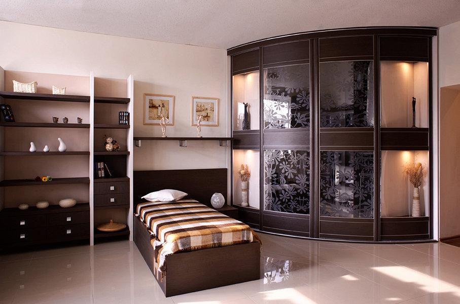 Радиусные шкафы (49 фото): модели в спальню и в гостиную с п.