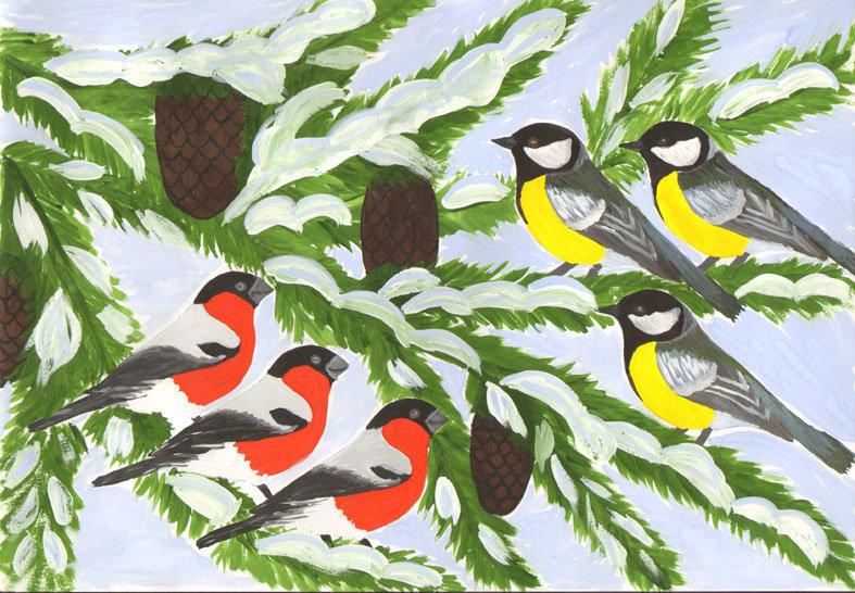 рисунки на тему зимующие птицы Таблица соответствия Старых