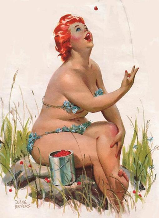 Художник Duane Bryers - Веселая Хильда Легкий нрав и оптимистичный характер.  Атипичная королева пин-апа: позитивная и рыжеволосая толстушка Хильда  Чувственная, немного неуклюжая, но при этом абсолютно не стесняющаяся своей фигуры – такая она, героиня иллюстраций в стиле пин-ап, созданных Duane Bryers. Хильда, именно так зовут пышную барышню с картинок, - одна из немногих атипичных пин-ап королев, которая украшала страницы американских календарей в середине прошлого века. Итак, знакомьтесь с очаровательной Хильдой.  Источник: http://www.kulturologia.ru/blogs/140316/28768/