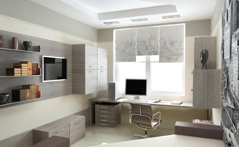Интерьер и дизайн домашнего кабинета - В современном стиле (белые обои и серая мебель)