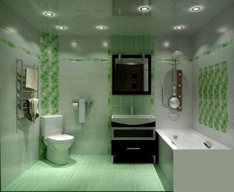 Ванная комната в нежных тонах.