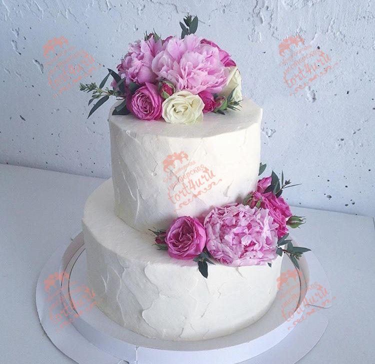 Торты на свадьбу с цветами фото